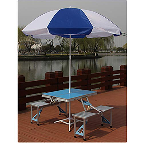 SHARESUN Opvouwbare campingtafel en stoelset, met paraplu outdoor aluminium legering draagbare campingtafel en stoel voor 4 personen, voor reizen strand picknick barbecue tuin binnenplaats met draagtas
