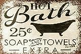 ZMKDLL Placa de metal de 30,48 x 20,32 cm, estilo retro, estilo vintage, para baño, hogar