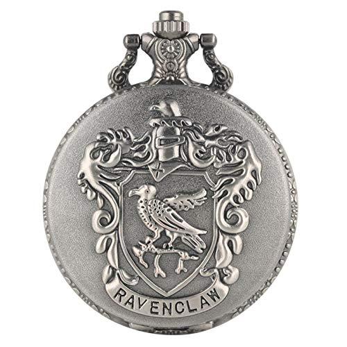 collana uomo 30 cm ZMKW Argento Grigio Corvonero Potter Hogwarts College Orologio da Tasca al Quarzo Orologio analogico con Ciondolo Aquila Collana Orologio Regali per Uomo Donna
