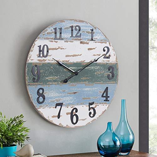 HAWOO 18'' Large Farmhouse Wall Clocks, Handmade Shiplap Wood Beach Theme Coastal Wall Clock, Nautical Decor Kitchen Clock, Rustic Decorative, Vintage Shabby Paint Boards ,Blue