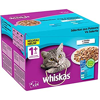 Whiskas Sélection aux Poissons en Gelée – Nourriture humide pour chat adulte – Alimentation complète en sachets fraîcheur – 2 x 24 x 100g