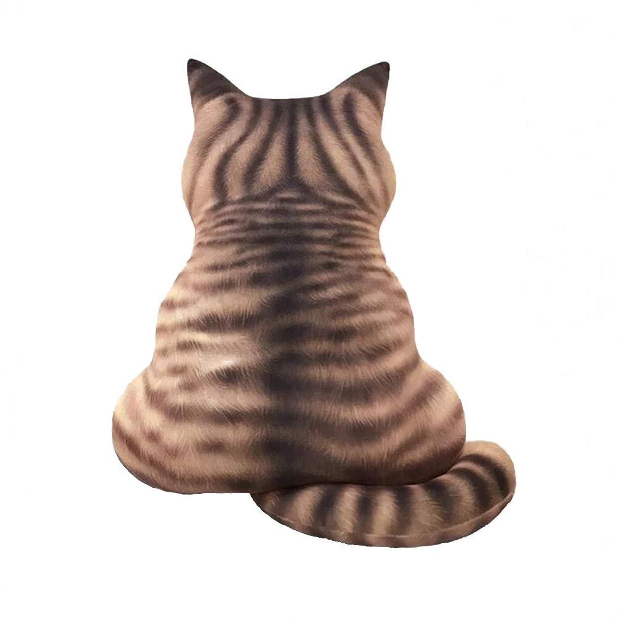 不適隣接傷つきやすいHomehalo 猫抱き枕 柔らかい カバー洗える ネコぬいぐるみ 可愛い 動物クッション 多機能 椅子 ソファー背当て 猫グッズ リアル抱きまくら もちもち抱き枕 インテリアぬいぐるみ お誕生日 クリスマスプレゼント (ブラウン, L)