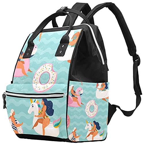 Yuelai Windel Tasche Rucksack Laptop Rucksack Travel Daypack für Frauen, Flamingo Schwan und süßer Donut aufblasbare Schwimmbecken schwimmt