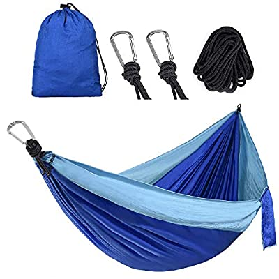 Camping Hammock for Outdoors, Backpacking & Camping Gear,Portable Hammocks with 2 Tree Straps, Lightweight Nylon Hammocks for Travel, Beach, Backyard, Hiking, Hammock Hang in Tree (Sky Blue/Sapphire)