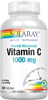 Solaray® Vitamin C with Rose Hips & Acerola | Two-Stage Timed-Release Formula | 1000mg | 24-Hour Immune Support & Antioxidant Supplement | 250 Ct.