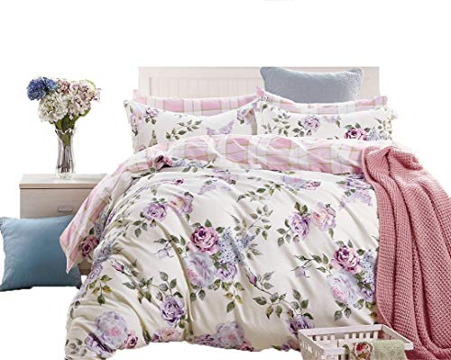 Swanson Beddings Pink-Purple Roses 3-Piece 100% Cotton Bedding Set: Duvet Cover and Two Pillow Shams (Queen)