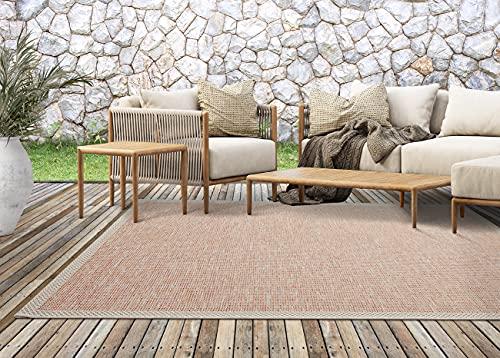 Calgary In- & Outdoor Teppich Flachgewebe, Modernes Design, Trendige Farben, Superflach, UV- und Witterungsbeständig, Beige-Terra, 120 x 160 cm