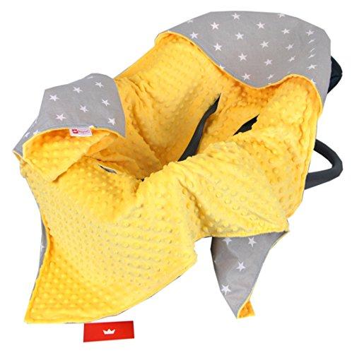 BabyLux Baby EINSCHLAGDECKE 90x90 cm Babyschale Kinderwagen Buggy Minky Decke (6. Gelb + Sterne)