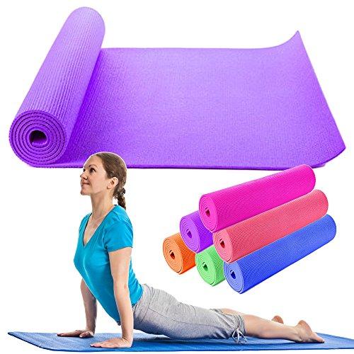 OUTLETISSIMO® Tappetino Yoga Tappeto Viola Pilates MATERASSINO Fitness Aerobica 173X61 Soft
