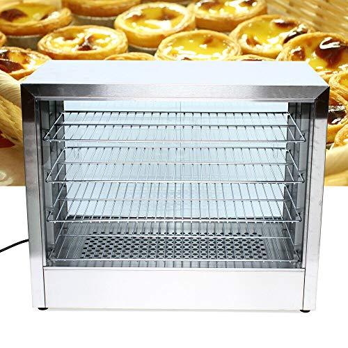 Futchoy Depósito térmico de 4 pisos de acero inoxidable para mantener el calor, con temperatura ajustable, vitrina para panaderías, cafeterías, restaurantes de comida rápida