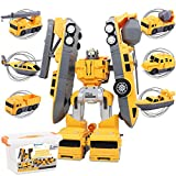 Transformers Toys Construction Assemble Vehicles Transform into Robot 6-in-1 , Take Apart Car for Kids including Cement Truck, Dump Truck, Crane, Helicopter, Boat STEM Gift for Boys Kids Ages 3 4 5 6
