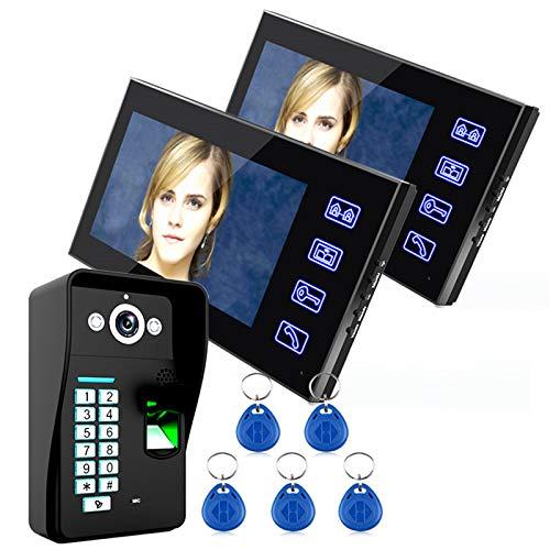 Sistema de intercomunicación con videoportero, timbre de video con cable de 7 pulgadas, 2 monitores + cámara de seguridad con visión nocturna, desbloqueo de contraseña por huella dactilar RFID