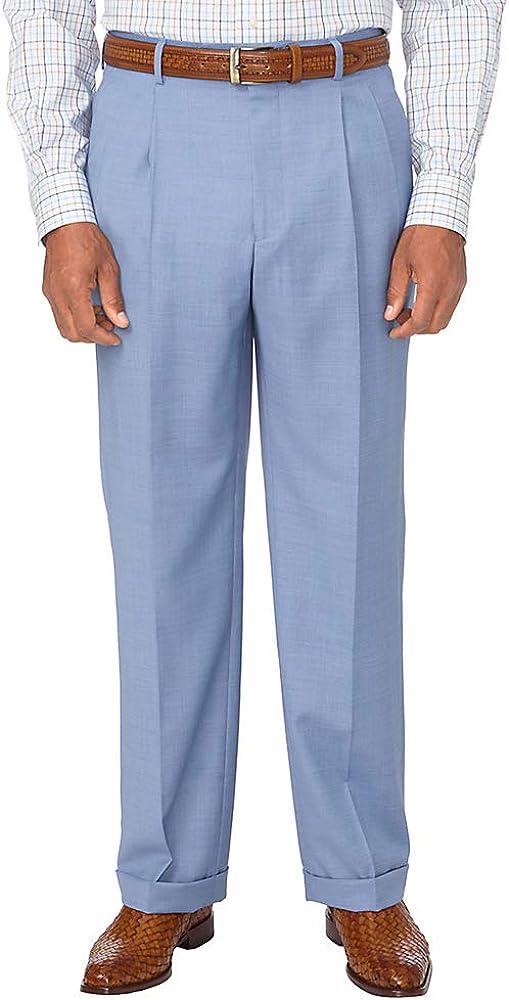 Paul Fredrick Men's Classic Fit Sharkskin Pleated Suit Pant