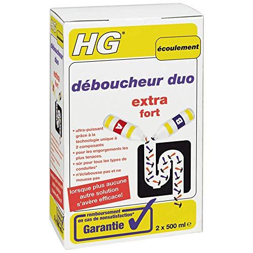 HG déboucheur duo 2x 500 ml – Déboucheur de canalisation pour éliminer les bouchons les plus tenaces dans la cuisine ou la salle de bain. Lorsque plus aucune autre solution ne s'avère efficace!