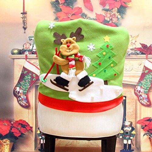 HENGSONG Weihnachtsdeko Weihnachts Stuhlhussen Stuhlüberzug Stuhlabdeckung Küchen Stuhlhussen Home Party Dekoration (Elch)