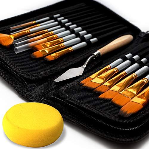 Artist Paint Brush Set – 15 Different Shapes & Sizes – FREE Painting Knife & Watercolor Sponge...
