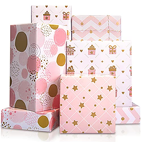 Larcenciel Gift Wrapping Paper, Birthday Wrapping Paper for Girl, Metallic Gold Foil Wrapping Paper, Pink Gift Wrap for Birthday, Valentines Day, Christmas, Wedding, Baby Shower,4 Sheets 27.5x19.6inch