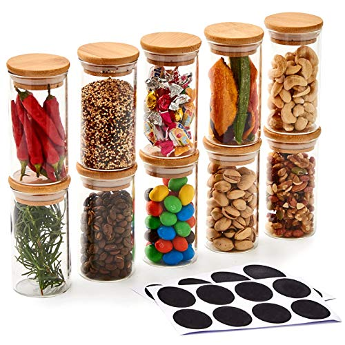 EZOWare 10 Flaschen Glasbehälter-Set, klein, luftdicht, Vorratsdosen mit natürlichem Bambus-Deckel und Kreidetafel-Etiketten für Küche, Bad, Heimdekoration, Partyzubehör (200 ml)