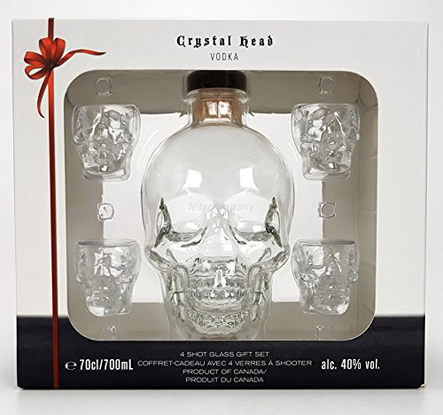 Crystal Head Set Geschenkset - Crystal Head Vodka 0,7l 700ml (40% Vol) + 4x Shotgläser -[Enthält Sulfite]
