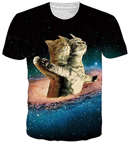 ALISISTER Neuheit Space Katzen Grafik T Shirts Herren Damen 3D Muster Rundhals Kurzarm T Shirts Wear Tops XL
