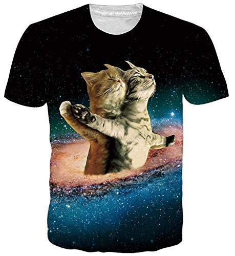 ALISISTER Unisex Tshirt 3D Coole Space Cat Printed T-Shirts Jungen Mädchen Beiläufig Sport Party Kurzarm Tees Top L