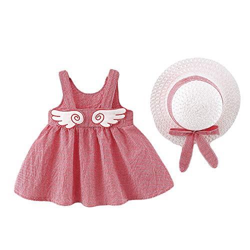 Qiraoxy Vestido de verano para niña pequeña, con estampado de lunares y limón, sin mangas, con gorro de paja, falda de playa para fiestas fotográficas (8 a 3 años)