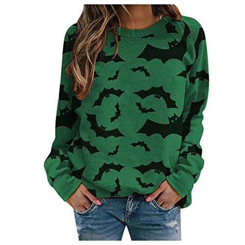 WMNU Halloween Womens Hoodie Print Long-sleeved Sweatshirt Casual Blouse Pullover Autumn Winter Cotton Streetwear Outwear Green