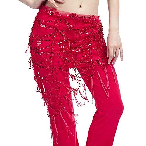 BHYDRY Femmes Danse du Ventre Hip Echarpe Wrap Ceinture Ceinture Jupe Coin Sequin Dancewear(Rouge
