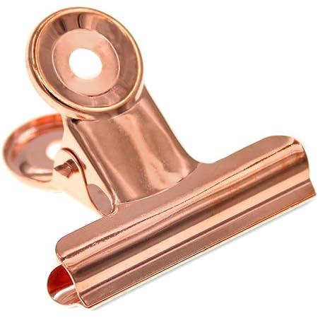 Coideal Large Rose Gold Bulldog bisagra clips, 10 paquete de 2 pulgadas de acero inoxidable clips de papel aglutinante pinzas para fotografías Fotos, cocina casera, suministros de oficina (51mm)