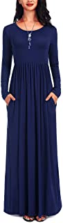 Women's Long Sleeve Loose Plain Casual Long Maxi Dresses with Pockets