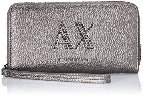 Armani Exchange, Pebble Studs Wristelt Round Zip para Mujer, Gun Metal, One Size