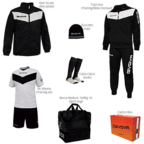 Givova Fußball Set mit Box Vittoria komplett, Unisex-Erwachsene, Box Vittoria L schwarz/weiß