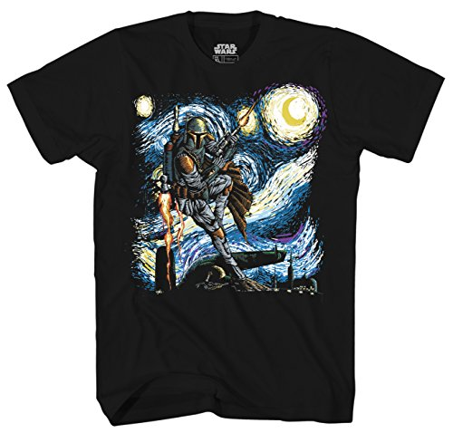 Star Wars Boba Fett Starry Night Men's Adult Graphic Tee T-Shirt (Black, Large) by Mad Engine