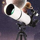 DFJU Telescópio para iniciantes, Adultos, crianças, 80 mm, Abertura, 400 mm, telescópio astronômico, tripé ajustável e Mochila, telescópio perfeito para crianças