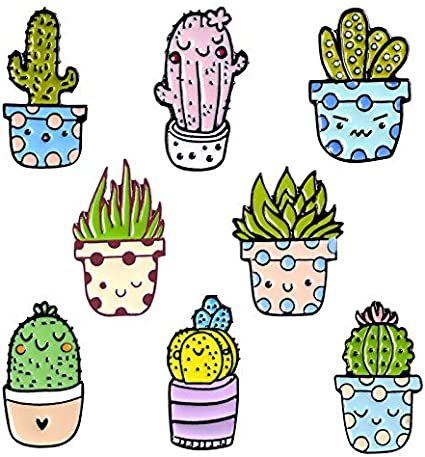 Potted Plant Cactus Pins Lovely Smiley Face Lapel Enamel Pins Fashion Brooches Badges Clothes Bag Pins Jewelry Gifts for Friends