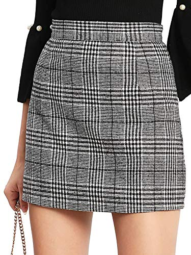 Floerns Women's Plaid High Waist Bodycon Mini Skirt Grey M