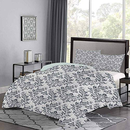 UNOSEKS LANZON Duvet Cover Set Quilt Cover Floral Ornament Damask Flourishes Classics Silhouette Fancy Symbolic Artwork Hypoallergenic Duvet Cover Enjoy a Great Night's Sleep Beige Grey, Twin Size