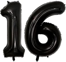 40inch Jumbo Black 16 Number Balloons for 16th Birthday Party Decorations Girl Boy 16 Years Old Birthday Party Supplies use Them as Props for Photos (Black 16)
