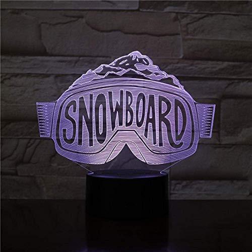 3D Illusion Nachtlicht 7 Farbe Led Vision Ski Snowboard Skifahren Dekorative Jungen Kind Kinder Baby Skibrille Tisch Neon Bunte kreative Geschenk Fernbedienung