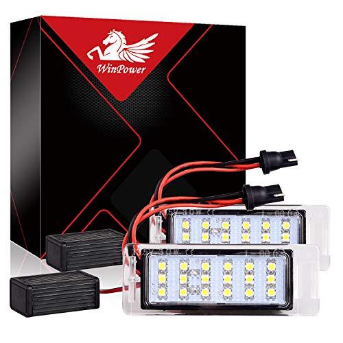 WinPower Kennzeichen Glühbirne Heckleuchten Lampen SMD 6000K Weiß Fehlerfreie Lampen für Camaro Cruze usw, 2 Stück