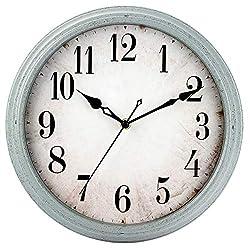 HYLANDA Wall Clock Battery Operated, 12 inch Vintage Retro Silent Quartz Wall Clocks Decorative for Living Room/Kitchen/Home/Bathroom/Bedroom/Patio/Office(Light Blue)
