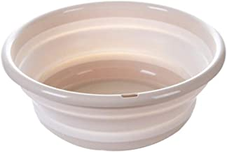 LJBH Foldable Washbasin, Outdoor Travel Plastic Washbasin, Portable Travel Compression Washbasin, Laundry Tub, Beige, Purp...