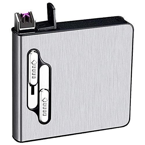 seiyishi タバコ シガレットケース タバコケース 20本収納 電子ライター内蔵 USB充電式 防風 煙草ケース 防水 防湿 メンズ レディース 煙草 ギフト SY-JNB-01 (シルバー)