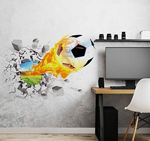 Aoligei 3D Football Wall Stickers Living Room Bedroom Decal Cartoon Boys Teens Kids Children Room Removable Self Adhesive Wall Stickers Wallpaper Poster