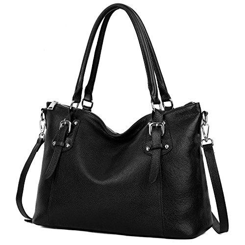 Yaluxe Donna Vintage Stile morbido vera pelle elegante grande Borse a tracolla nero