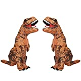 Kintness 2PCS Adults T-Rex Inflatable Costume Fancy Dinosaur Suit Blow up Jurassic World Halloween Cosplay Costume Brown