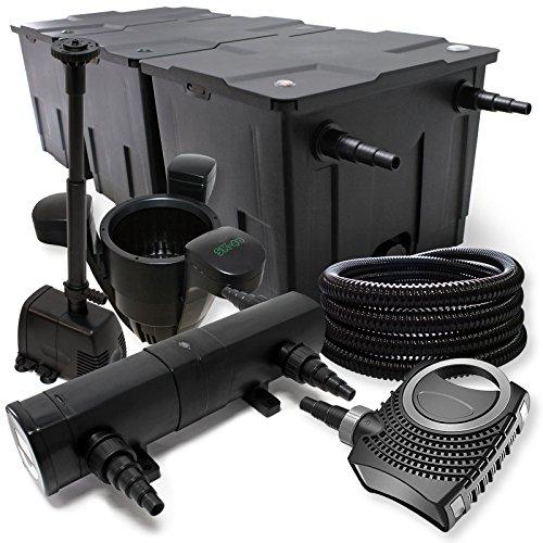 Filterset: bio-vijverfilter tot 90000l UV-zuiveraar met 24W 80W pomp Skimmer en fonteinpomp