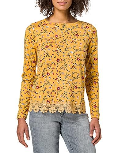 Springfield Camiseta Bajo Crochet, Amarillo/Off White, XL para Mujer