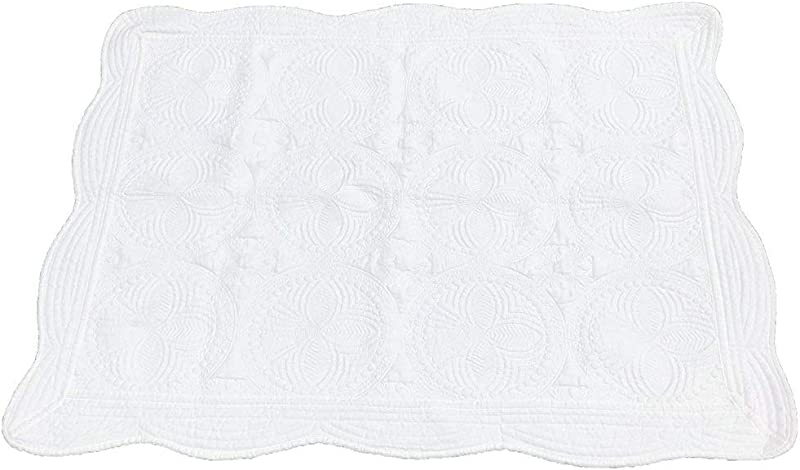 MONOBLANKS Cotton Baby Quilt Personlized Monogram Lightweight Embossed Scalloped Throw Blanket Four Seasons White