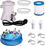JWKK Swimming Pool Filter Pump 300 Gallon Pool,Electric Water Pump for Above Ground Pools, Household Inflatable Pool Filter Pump System Kit + Filter Cartridge (1 Pcs Swimming Pool Filter Pump)